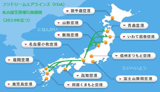 フジドリームエアラインズ(FDA)名古屋空港運行路線図(2014年なつ)