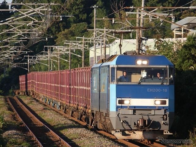 信越線をはしるコンテナ貨物列車(レスポンス)