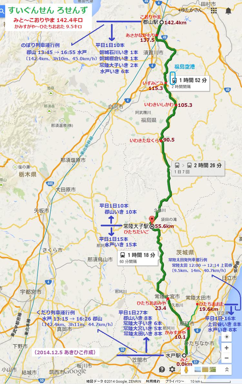 水郡線の路線図 (2014.12.5 あきひこ作成)