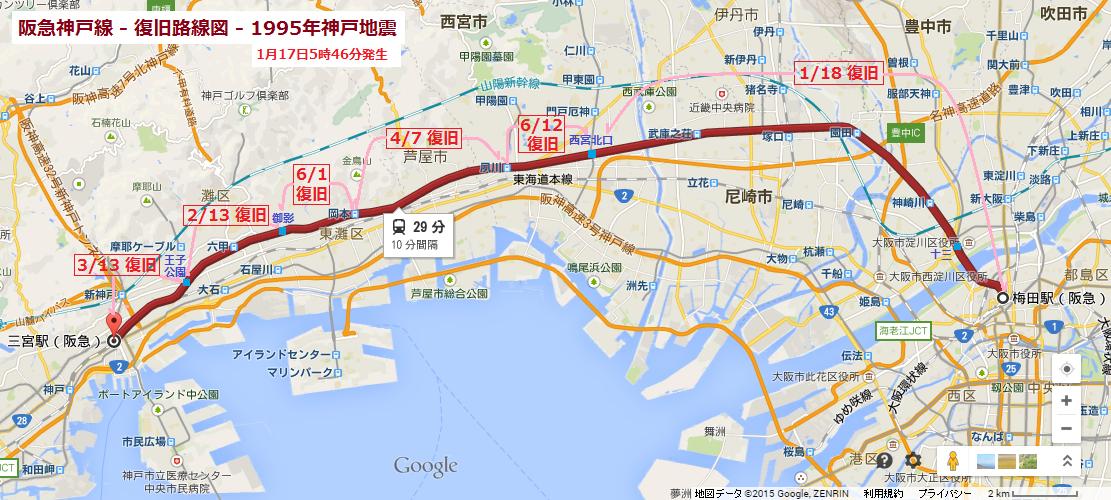 阪急神戸線 - 復旧路線図 - 1995年神戸地震 (あきひこ)