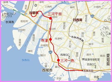 三河線碧南-吉良吉田間廃線路線図(廃線跡訪問記 - ブログ版)