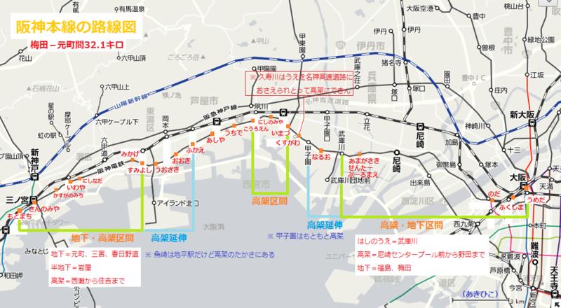 阪神本線の路線図(あきひこ)