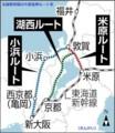 北陸新幹線の大阪延伸ルート案(さんけい)