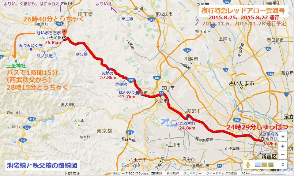 夜行特急レッドアロー雲海号の運行経路図(あきひこ)