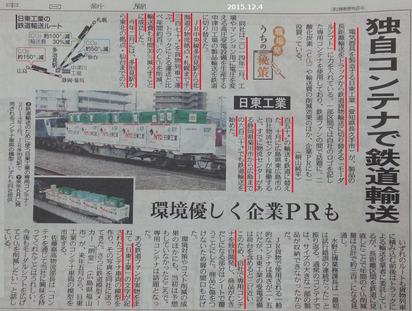日東工業、貨物輸送を鉄道にきりかえ - ちゅうにち 2015.12.4