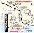 名鉄西尾蒲郡間の路線図(ちゅうにち)
