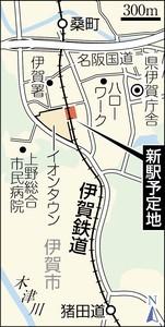 イオンタウン伊賀上野駅の位置図(ちゅうにち)