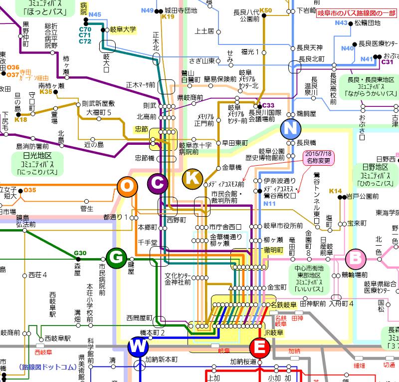 岐阜市のバス路線図の一部(路線図ドットコム)