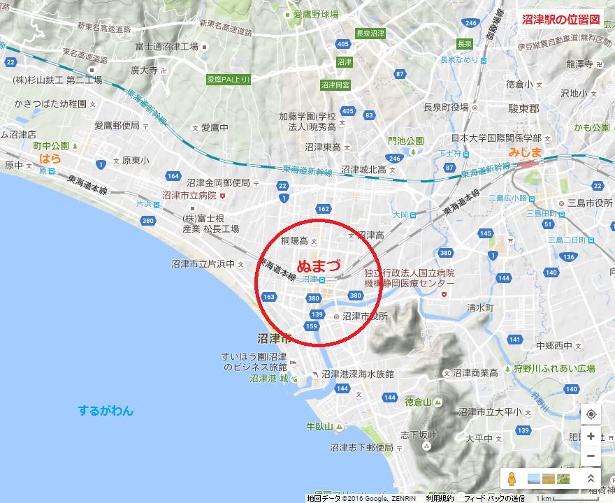 沼津駅の位置図