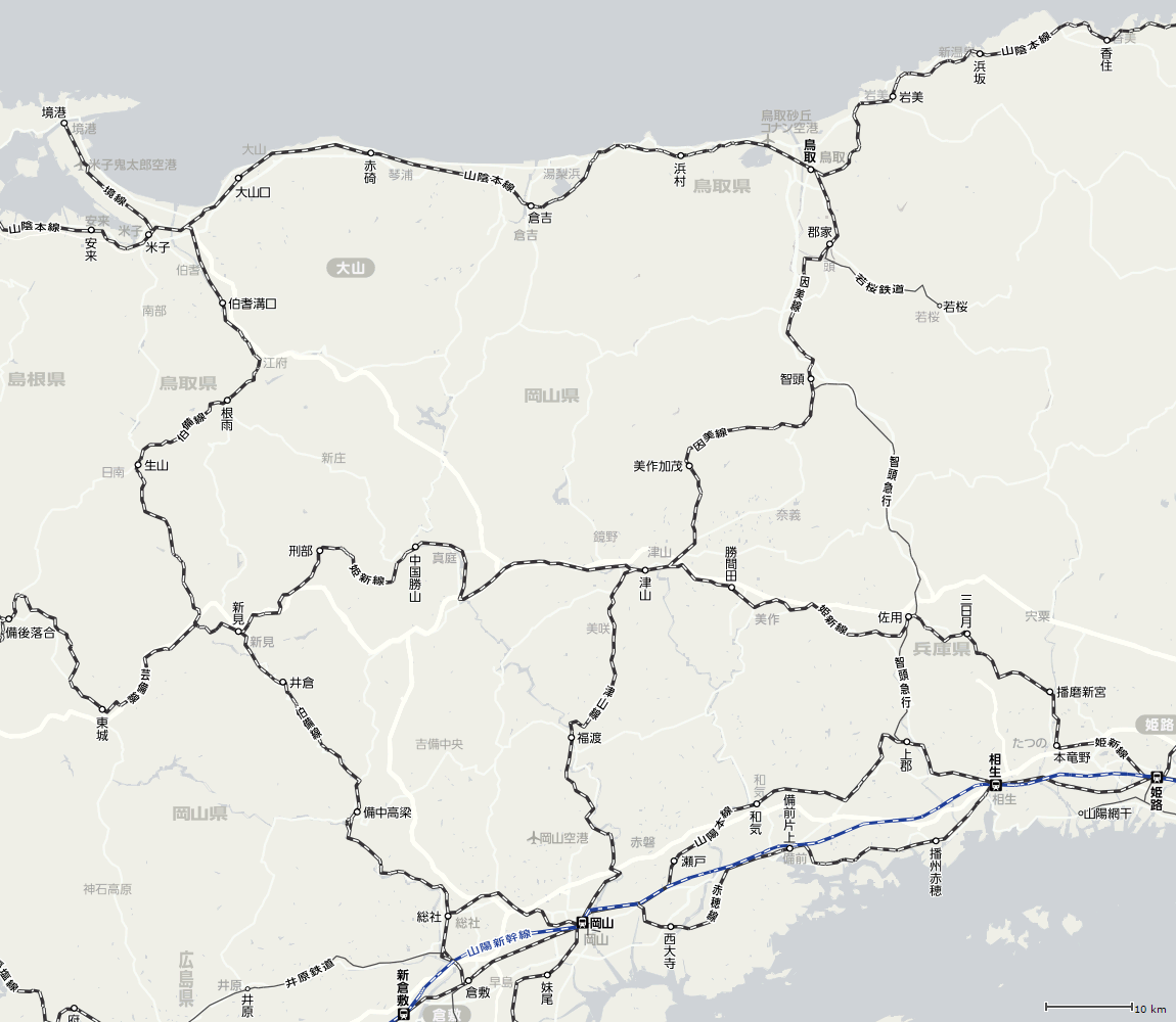 倉吉線の位置図(白地図)
