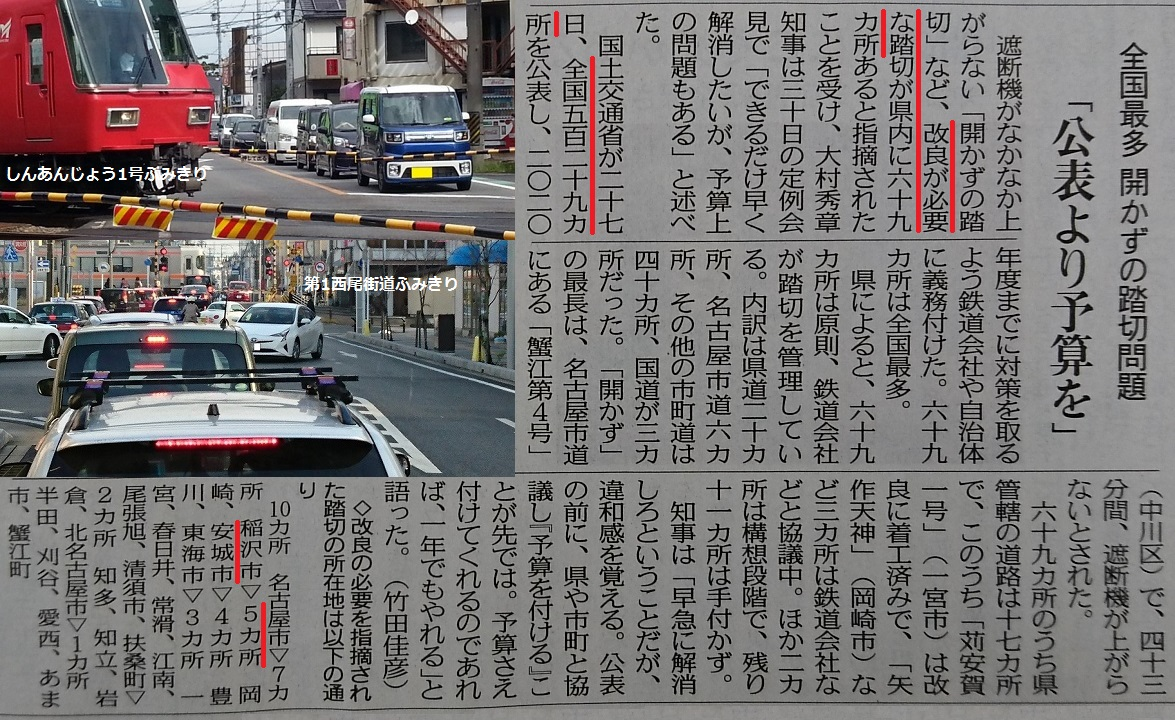 愛知県が全国最多 - 危険ふみきり - ちゅうにち 2017.1.31