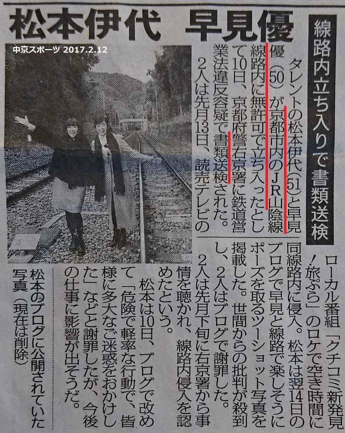 線路内無断たちいりで書類送検 - 中京スポーツ 2017.2.12