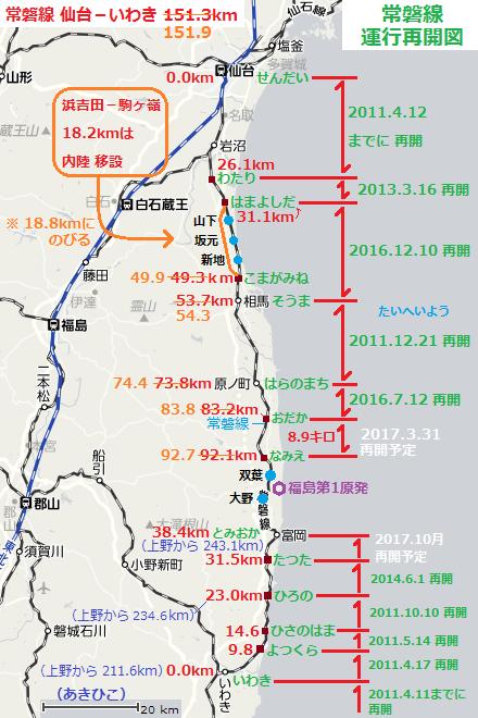 常磐線運行再開図 - 2017.3.13 (あきひこ)