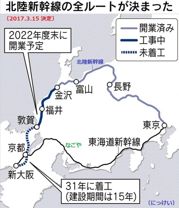2017.3.15 北陸新幹線の経路が決定(にっけい)