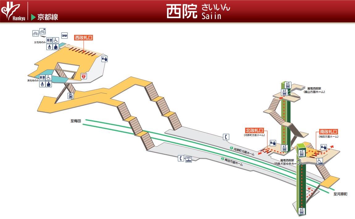 阪急西院駅の構内図 1150-710