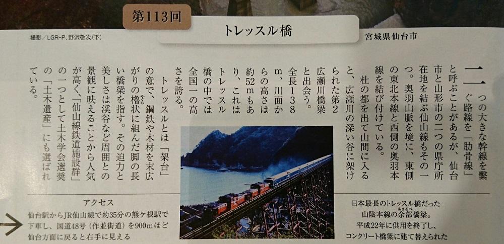 トレッスル橋(第2広瀬川鉄橋)の説明(週刊現代) 1000-485