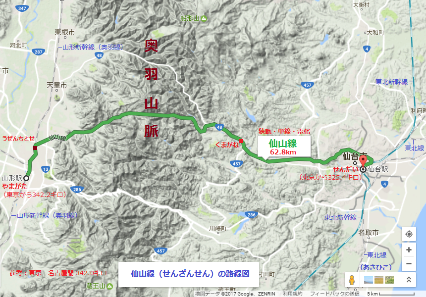 仙山線(せんざんせん)の路線図(あきひこ)
