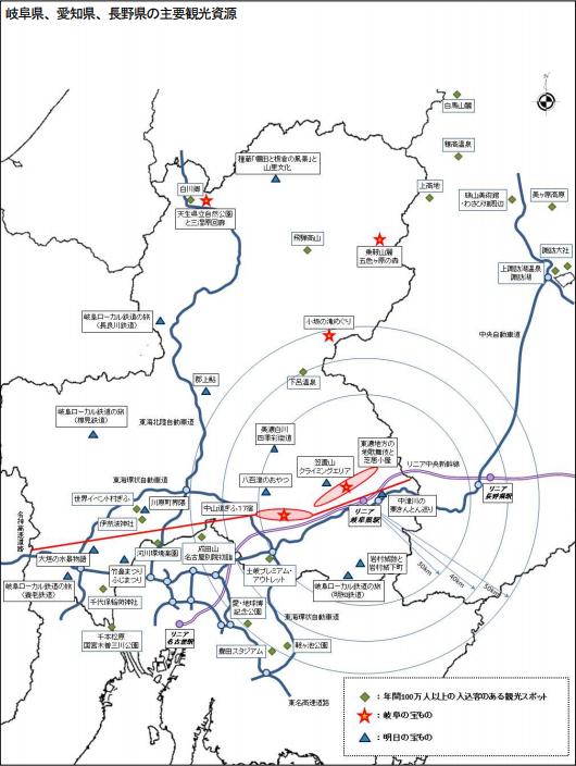 岐阜県、愛知県、長野県の主要観光資源(岐阜県リニア中央新幹線活用