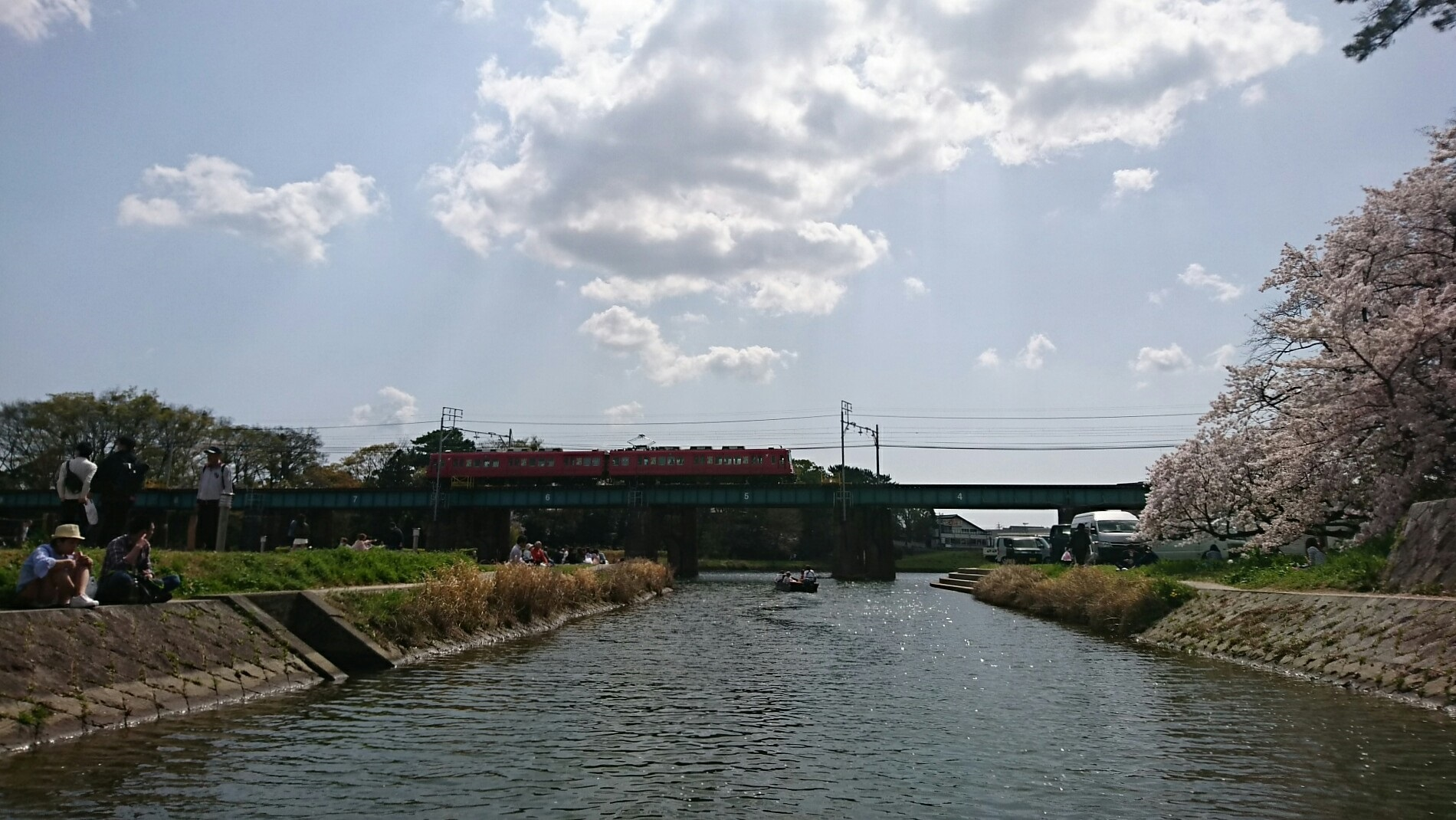 2018.3.31 岡崎ふなあそび (51) 伊賀川くだり - 名古屋本線鉄橋 1900-1070
