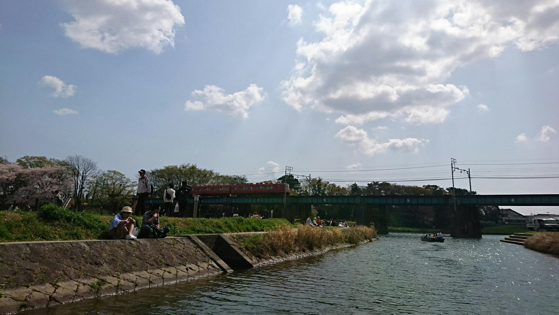 2018.3.31 岡崎ふなあそび (52) 伊賀川くだり - 名古屋本線鉄橋 1900-1070