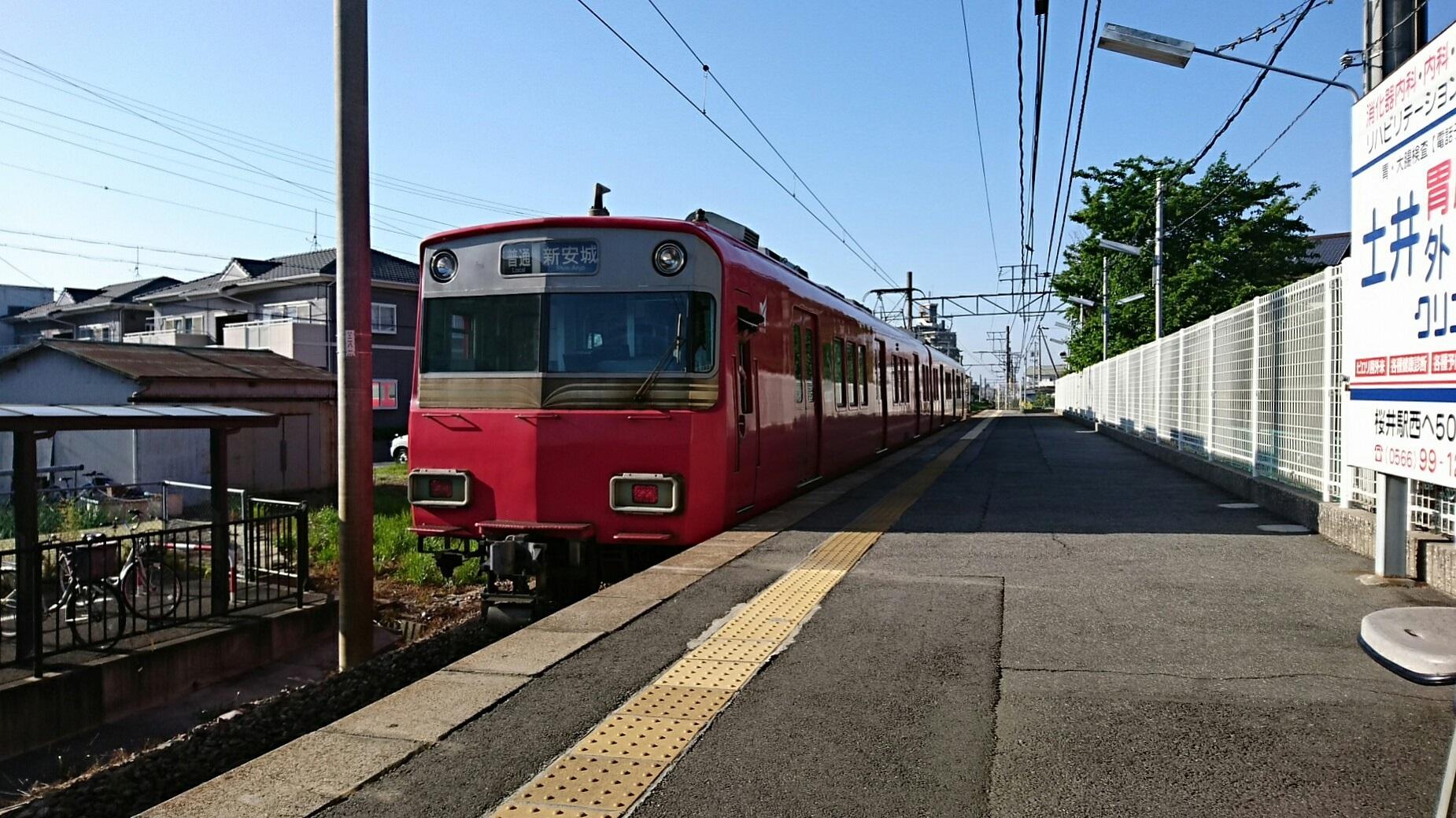 2018.4.29 西尾線 (5) 古井 - しんあんじょういきふつう(6050編成2両鉄仮面) 1850-1040