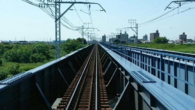 2018.5.14 犬山いきふつう (9) 岡崎公園前-矢作橋間(矢作川) 1440-810