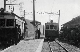 名鉄資料 (5) 三田洞駅での離合 - 1957年