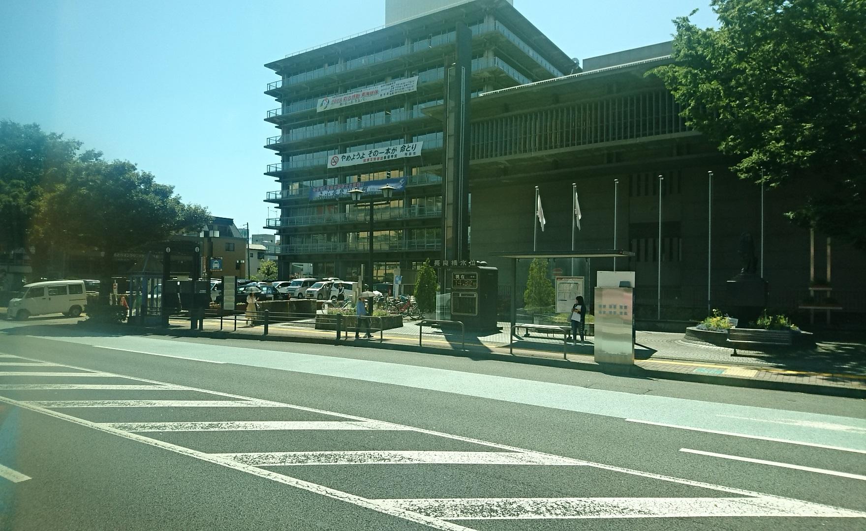 2018.6.1 岐阜 (83) 西鏡島いきバス - 岐阜市役所前バス停(はんたい) 1760-1080