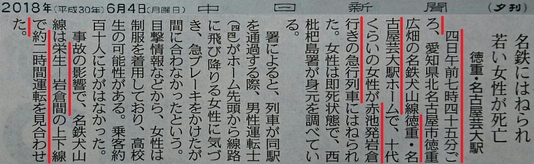 2018.6.4 徳重・名古屋芸大で人身事故(ちゅうにち)