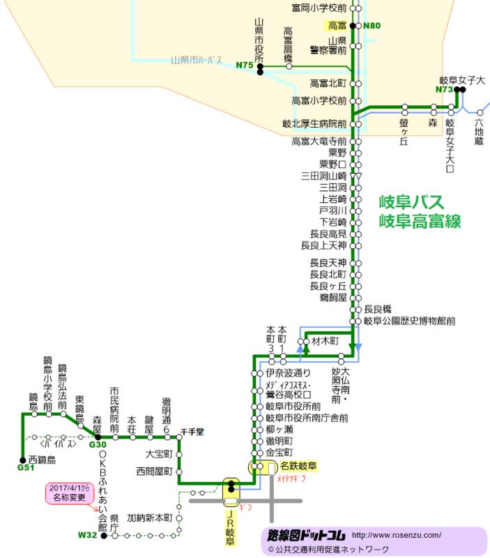 岐阜バス岐阜高富線の路線図(路線図ドットコム) 800-910
