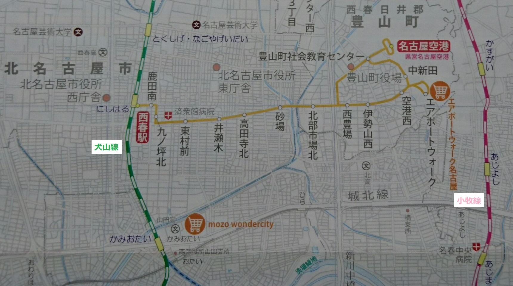 名鉄バス路線図 - 西春駅-名古屋空港 1720-960