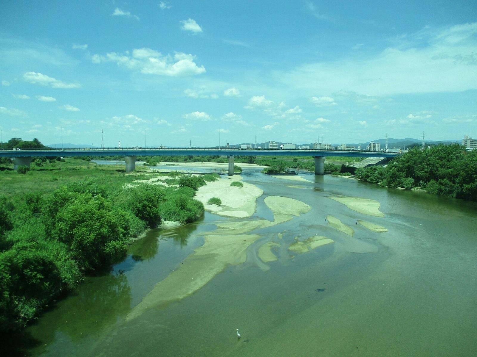 2018.7.23 (4) 東岡崎いきふつう - 矢作川をわたる 1600-1200