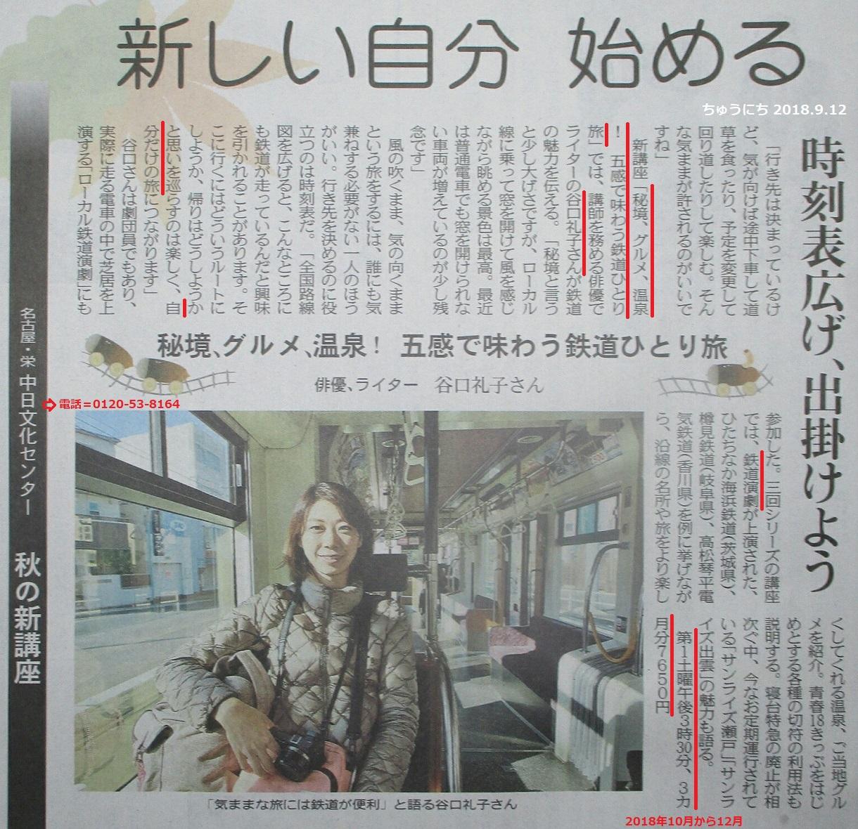栄中日文化センター鉄道ひとりたび講座 - 谷口礼子さん(ちゅうにち 2018.9.12)