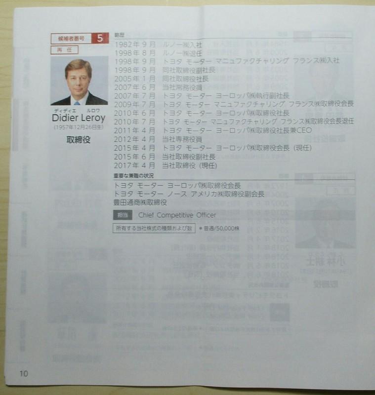 2019.6.13 (39) 第1号議案とりしまりやく9名選任(う) 1110-1170