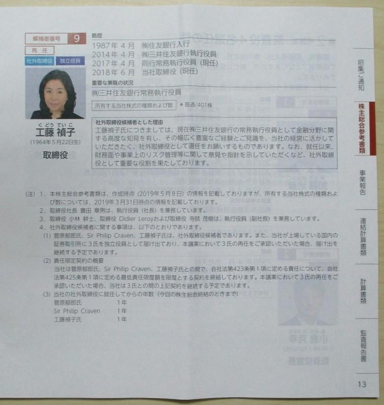 2019.6.13 (42) 第1号議案とりしまりやく9名選任(か) 1080-1140