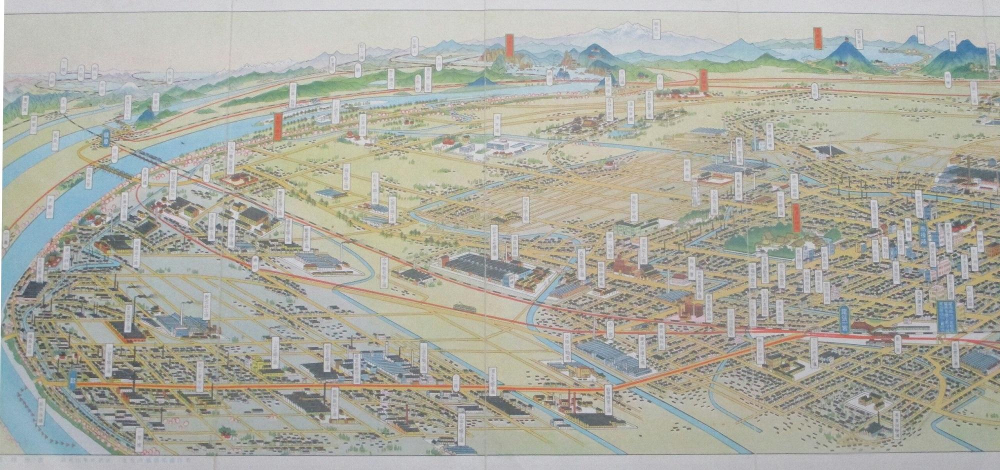 2019.7.10 (7) 尾西歴史民俗資料館 - 一宮市鳥瞰図 2000-940