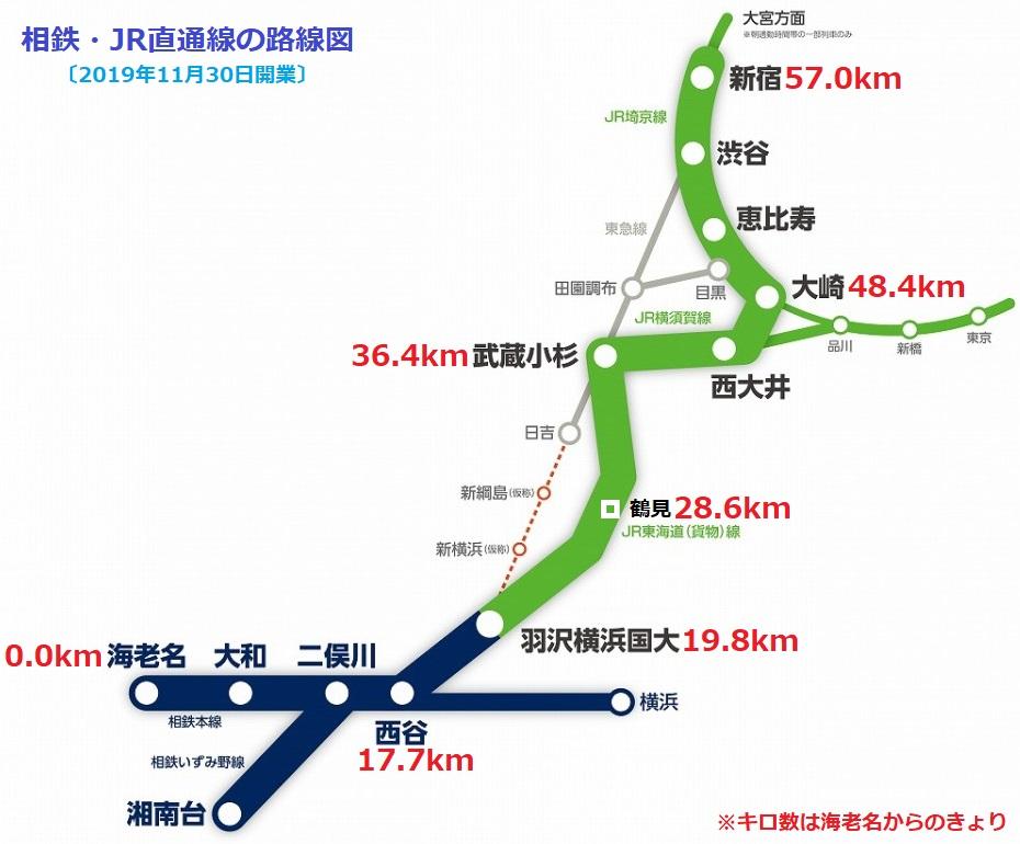 相鉄・JR直通線の路線図(あきひこ) 930-770