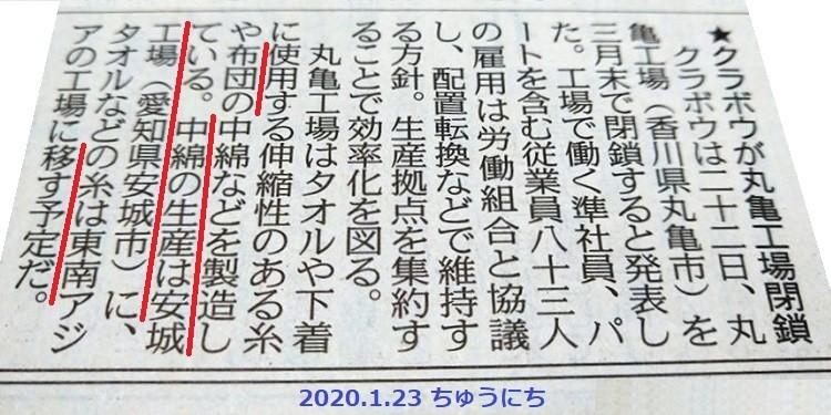 2020.1.23 ちゅうにち - クラボウが亀山工場閉鎖 750-375