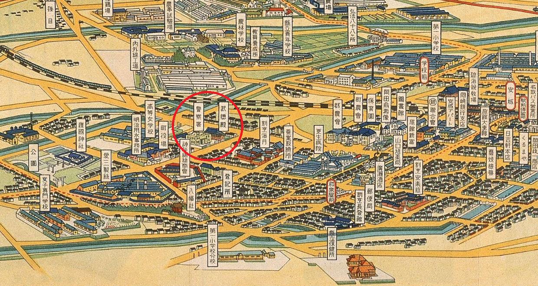 あんじょうちょう鳥観図(あんじょう警察署と武徳殿) 1240-660