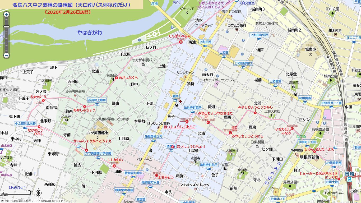 名鉄バス中之郷線の路線図(天白南バス停以南だけ) 1366-768