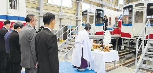 2019.3.7 三陸鉄道 - 新車両の安全祈願祭(河北新報) 500-238