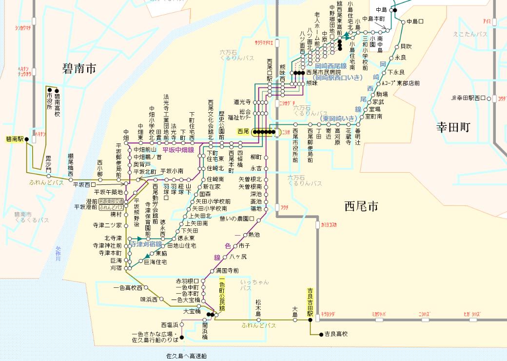 西尾市内のバス路線図(2020年3月現在) 1040-740