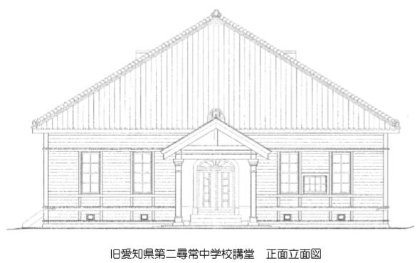 旧愛知県第二尋常中学校講堂 - 正面立面図 590-370