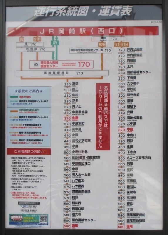 2020.4.15 (12) JR岡崎駅西口 - 7番のりば - 運行系統図 1130-1580