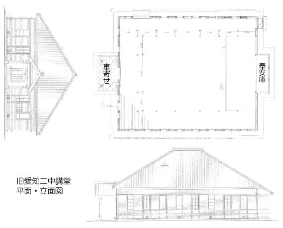 旧愛知県第二尋常中学校講堂 - 平面・立面図 570-460