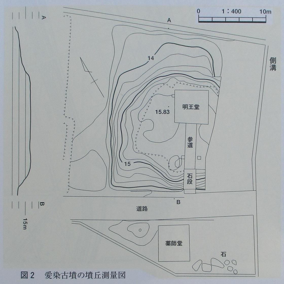 2020.6.29 (11) 新編あんじょう市史 - 愛染古墳の墳丘測量図 1120-1120