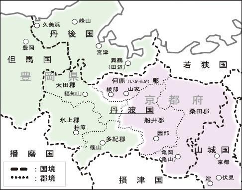 1871年11月22日(旧暦)の府県統合による丹波国 486-381
