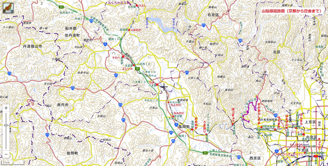 山陰線経路図(京都から日吉まで) 1366-694