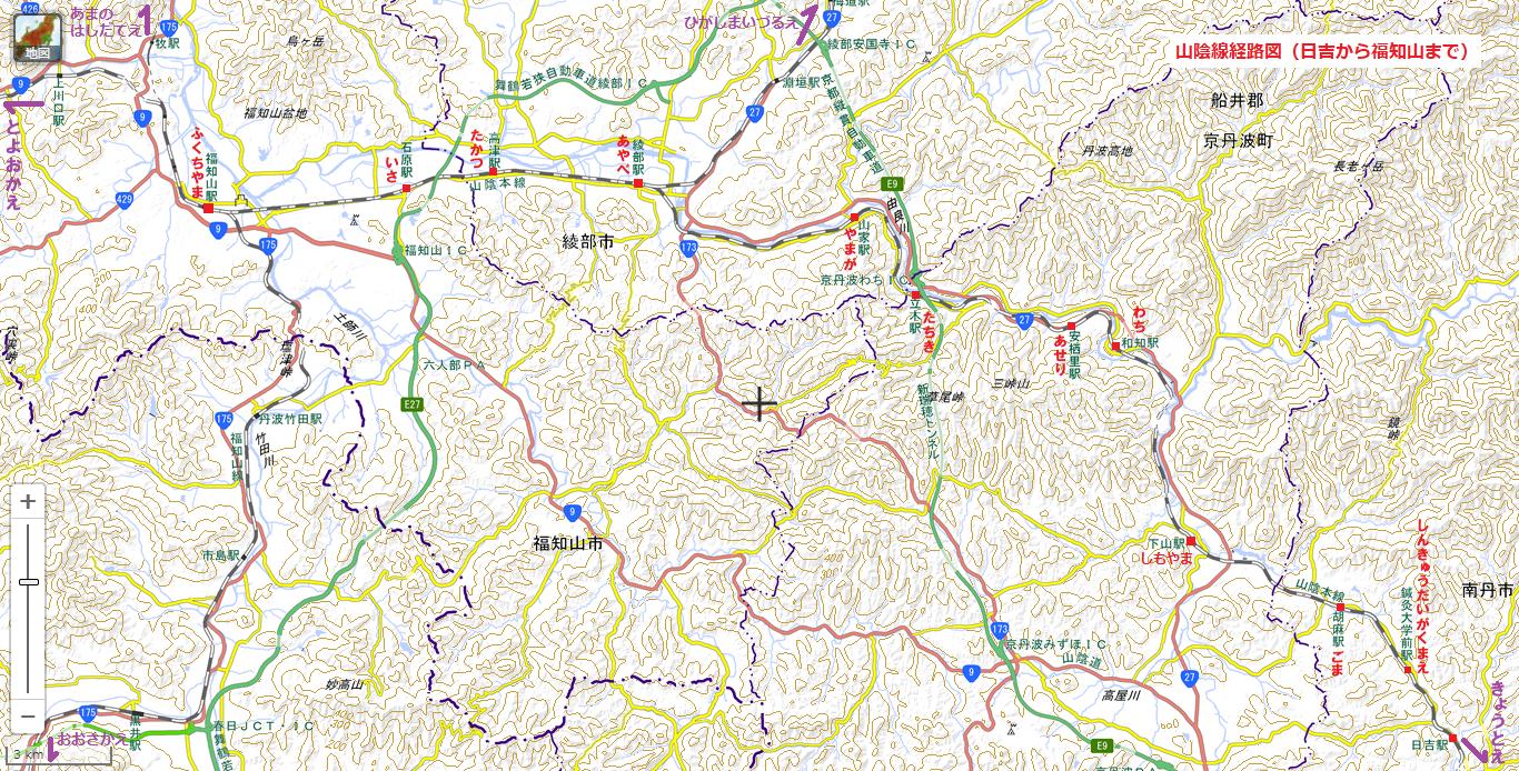 山陰線経路図(日吉から福知山まで) 1366-694