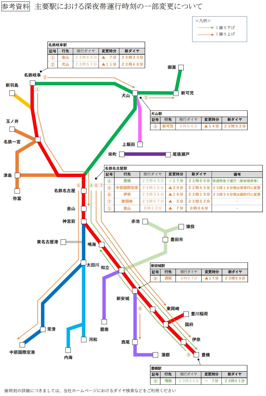 2021.3.16 主要駅における深夜帯運行時刻の一部変更 920-1370